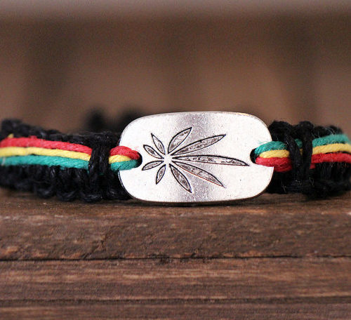 cannabis leaf hemp bracelet