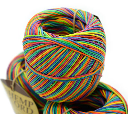 Rainbow Hemp Cord, 1mm, 20lb, 400 Feet Ball