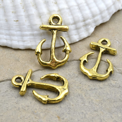 gold charms anchor