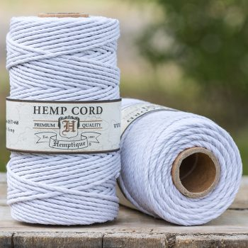 white hemp cord 2mm, macrame cord, hemptique