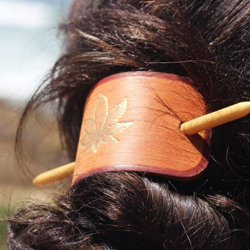 hemp leaf leather hair barrette