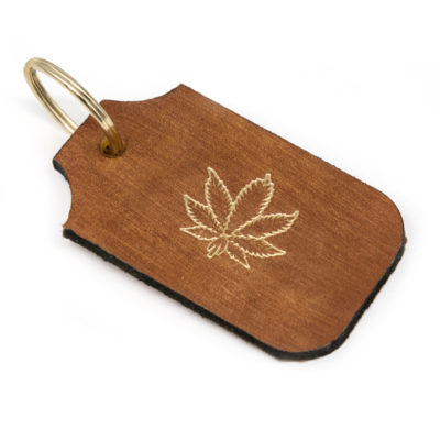 hemp leaf leather keychain