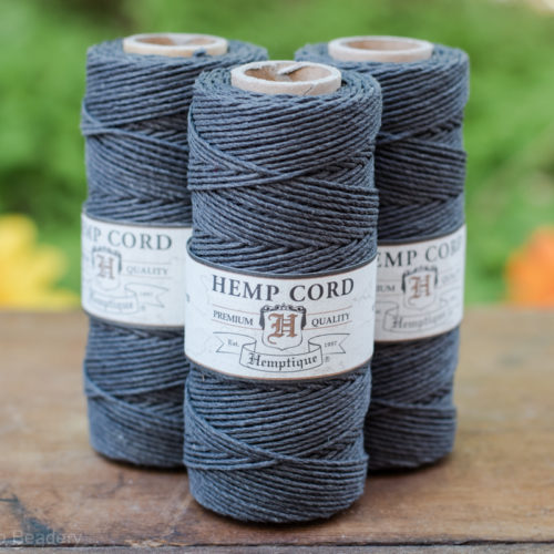 grey hemp cord, 1mm, 205 feet