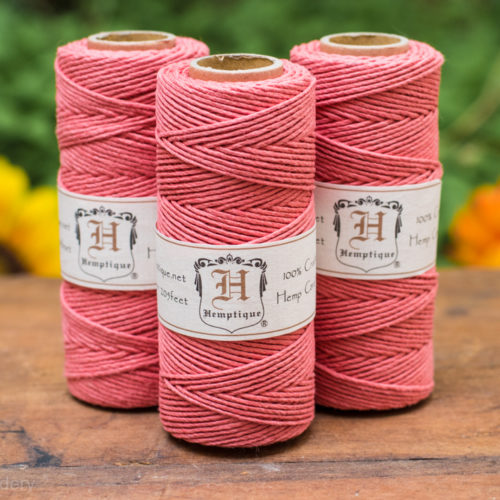 coral hemp cord, 1mm, 205 feet