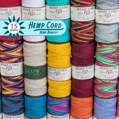 colored hemp cord spools, craft cord, hemp jewelry supplies