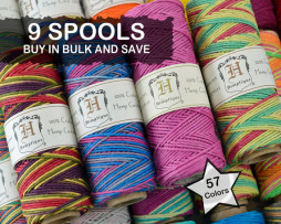 colored hemp cord spools