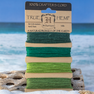 Hemp Twine, 0.5mm, 10lb, 168 Feet, Emerald Green