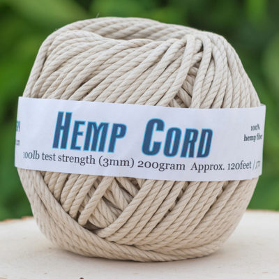 Hemp Cord 3mm, 100lb, 120 Feet, Natural