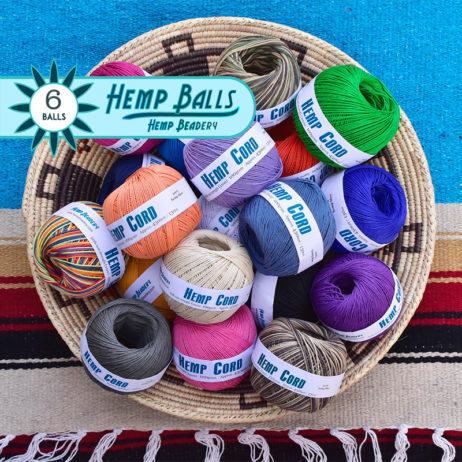 hemp cord, colored hemp balls