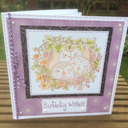 Baby Owls in a Nest Card