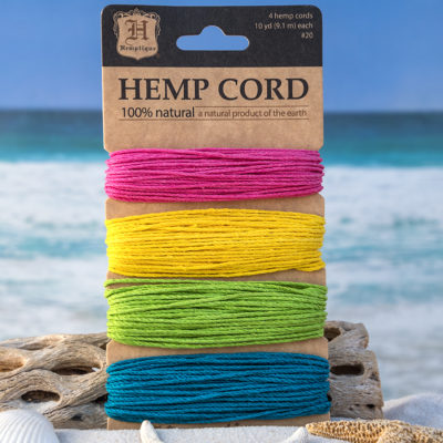 hemp cord sample card, 1mm craft cord