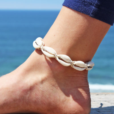 hemp cowrie shell anklet