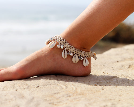 Hemp Gypsy Bell Anklet, Beach Anklet, Cowrie Shell Jewelry ...