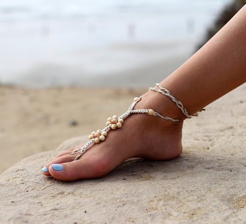 Macrame Foot Sandals, 1 pair, Foot Jewelry, Beach Sandals, Hemp Barefoot Sandals