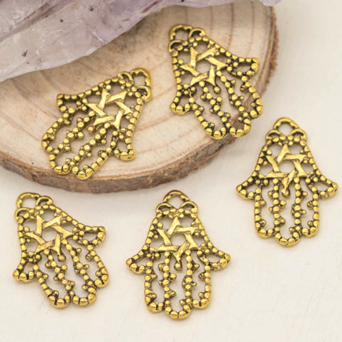 hand charms, gold charms