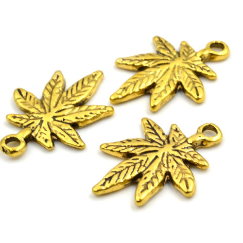 gold pot leaf charm