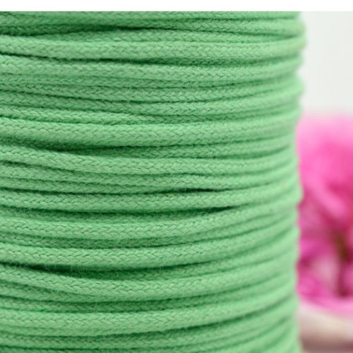 Mint Green Cotton Cord  2mm, Tubular  Cord, Lime Green, Sold By The Yard