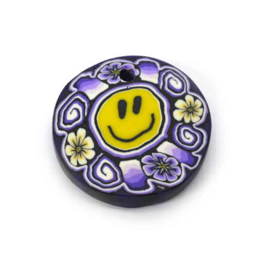 fimo disc pendant,smiley face
