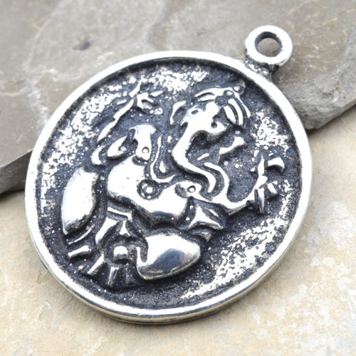 Ganesha Pewter Pendant, 1pc, 28x28mm, Ganesha -P355