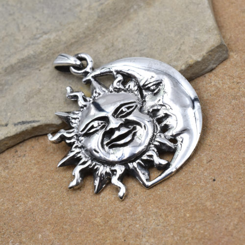 sun and moon pendant, 925 sterling silver charms