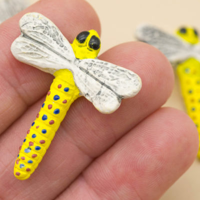 painted raku clay dragonfly