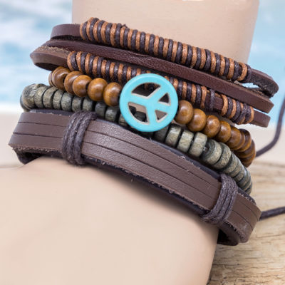 peace sign leather bracelet