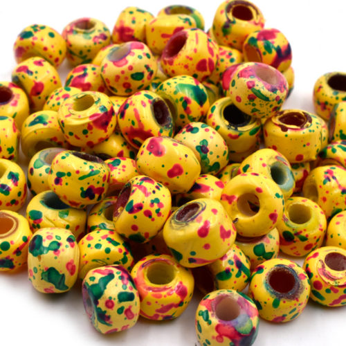 50pcs Marbled Yellow Crow Beads,   9mm,  Yellow Glass  Beads, Crow Beads, Large Hole  -B164