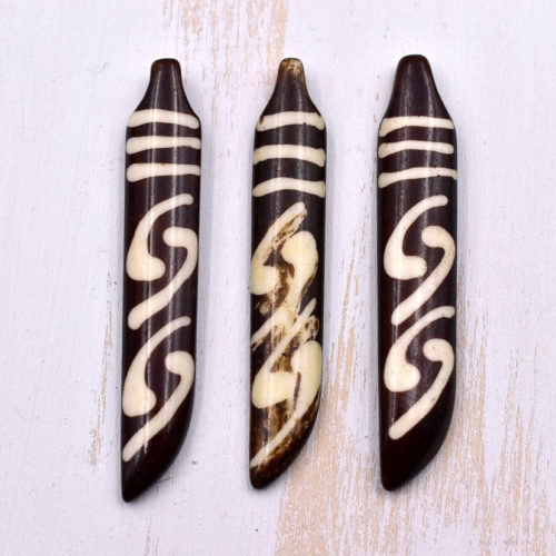 Batik Bone  Pendant, 2pcs, 55mm x 10mm, Tribal Pendant,  Focal Pendant, Brown Bone -P120