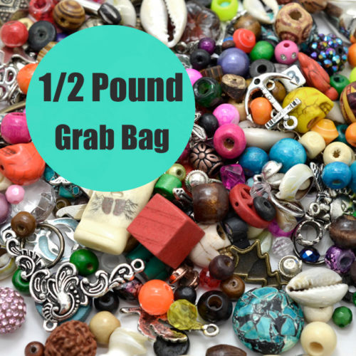 Beads and Charms Grab Bag,  1/2 Pound, Detash beads,  Bead Mix, Bead Lot, Jewelry Making Supplies -B562