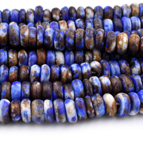 Blue Bone Disc Beads, 7x3mm,   16 inch Strand,  Colored  Bone Beads, Cow Bone -BN58