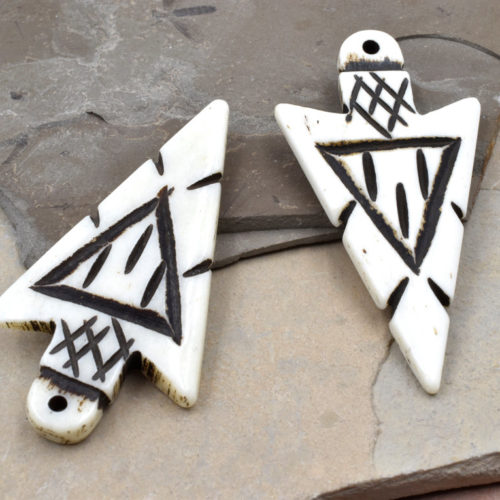 Bone Arrowhead Pendants, 2pcs,   50x25mm, Carved Bone   Arrowhead, Cowbone -P122