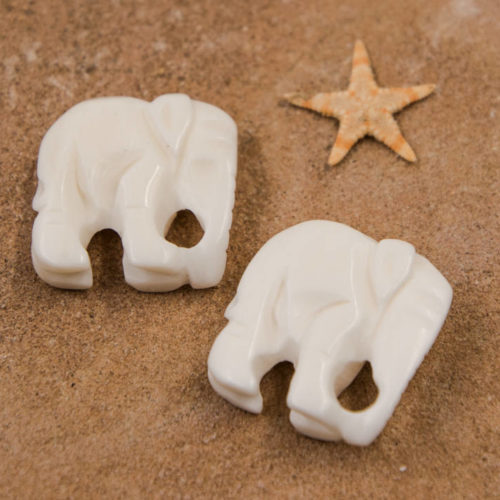 Bone Elephant  Beads, 2pcs,   20mm, Carved  Cream Ox Bone -p218