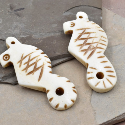 Bone Seahorse Pendant, 2pcs, 45mm x 20mm, Carved Bone Pendant, Cowbone -P121