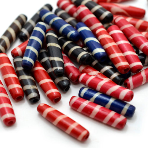 Bone Tube, 20pcs,  24x6mm, Dyed Bone Beads,   Ethnic Beads, Beads From India, Bone Carved Beads -BN29
