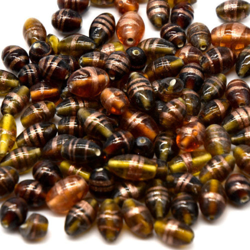 Brown Glass Beads, 40pcs, Mixed Sizes and Shapes,  Indian  Beads -B807
