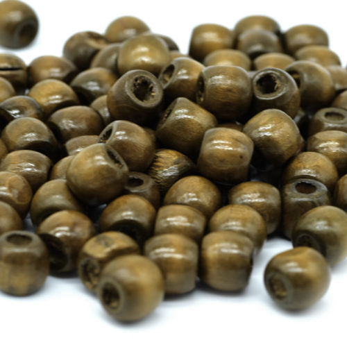 Brown Wood  Pony Beads, 100pcs, 12x10mm, Wood Barrel,  5mm Hole -B726