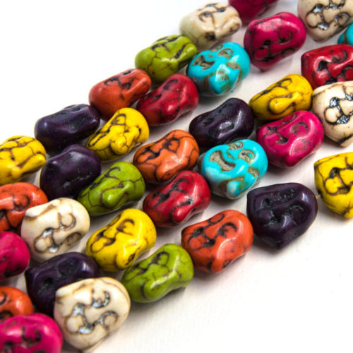 Buddha Beads, 15mm, 26pc Stand, Mixed Color,  Howlite Stone Beads -B863