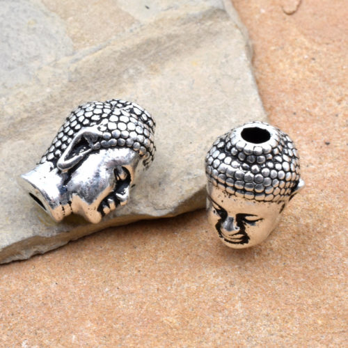 Buddha Head Beads, 3pcs, 10x8mm, Pewter, Silver Plated,   Silver Beads, Made in The USA