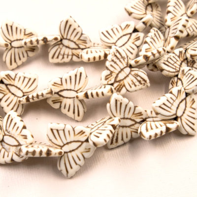 Butterfly Beads, 25x22mm, 28pc Stand, White Color,  Spacer Beads -B857