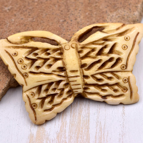 Butterfly Pendant, 1pc, 37mm x 60mm, Carved Bone Pendant,  Bone Beads - P52