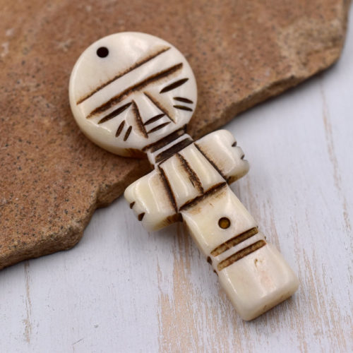 Carved Bone  Pendant, Human Doll, 1pc, 25mm x 60mm,  Bone  Pendant,  Cream Bone Beads  - P82