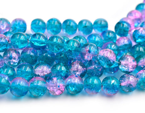 Crackle Glass Beads, 10mm, 30 inch Strand, Two Tone Aqua Pink, 1mm Hole -C636