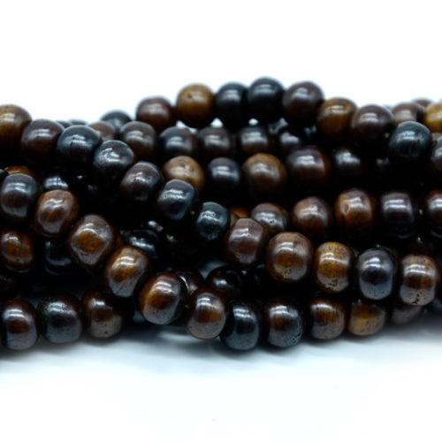 Dark Brown Bone Beads, 10mm, 50pc Strand, Round Bone Beads, Spacer Beads -BN96
