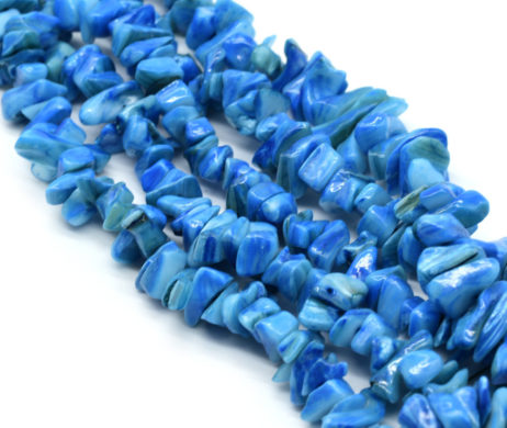 Dyed Blue Shell Chip Beads,  14 Inch Strand, 10-15mm,  Freshwater Shells -B764