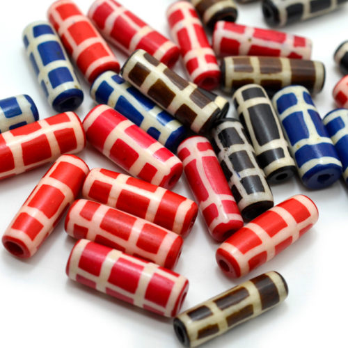 Dyed  Bone   Beads, 18pcs,  24mm, Mixed Color, Bone Beads,  Ethnic   Beads, Cowbone Beads -BN30