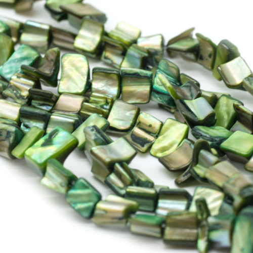 Dyed Green Shell Beads,  15 Inch Strand, 12x8mm, Shells, 48pc -B794