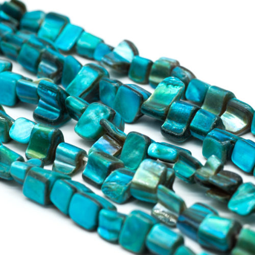 Dyed Shell Beads, Blue Color  15 Inch Strand, 12x8mm, Shells -B799