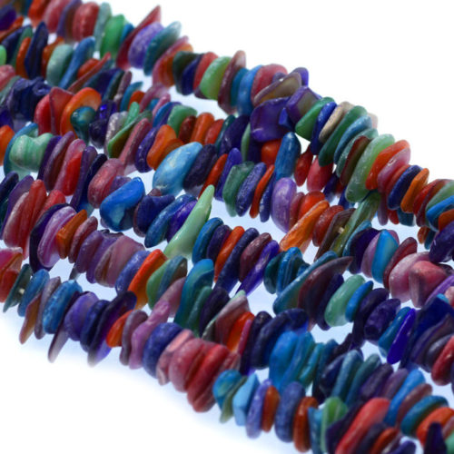 Dyed Shell Chip Beads,  16 Inch Strand, 8-15mm,  Craft Shells -B725