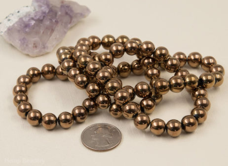 Electroplated Glass Beads, 10mm Round beads, Copper Color,   30 inch Strand -B112