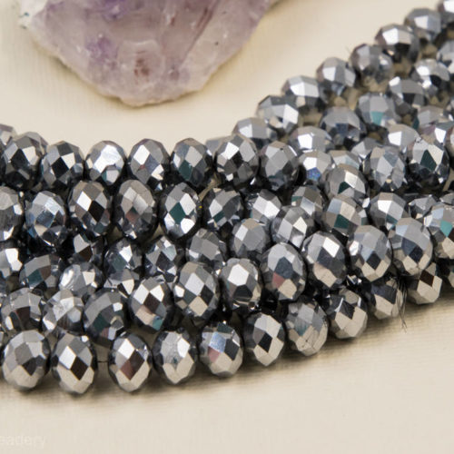 Faceted Glass Beads, 10x6mm, 22 Inch Strand, Silver Finish, Electroplated Beads -B93